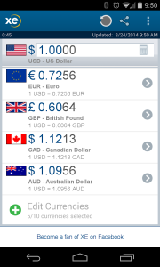 XE Currency app