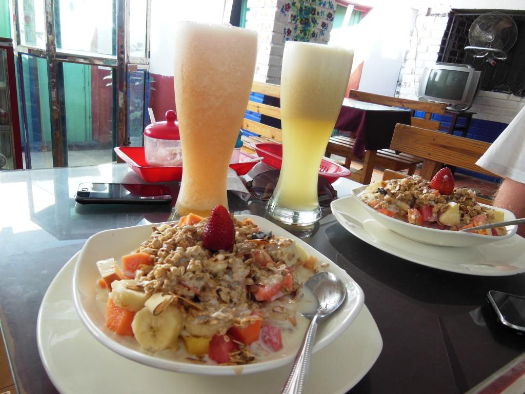 Muesli, yoghurt, fruit en een verse shake!