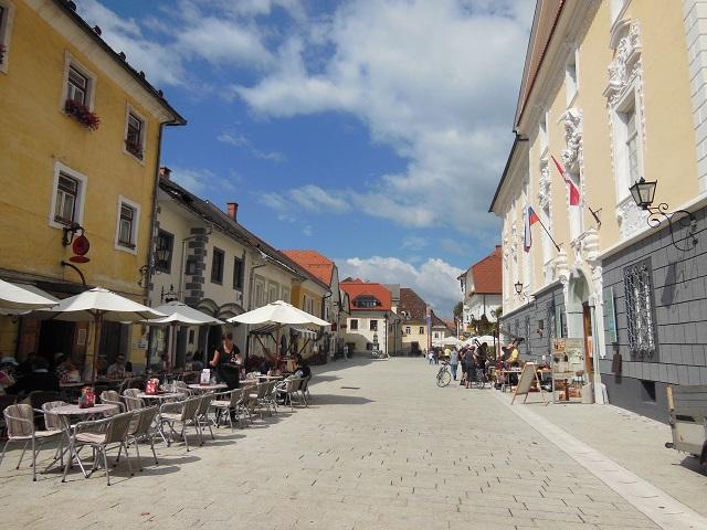 Het oude centrum van Radovljica, Slovenie