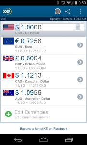 XE Currency app