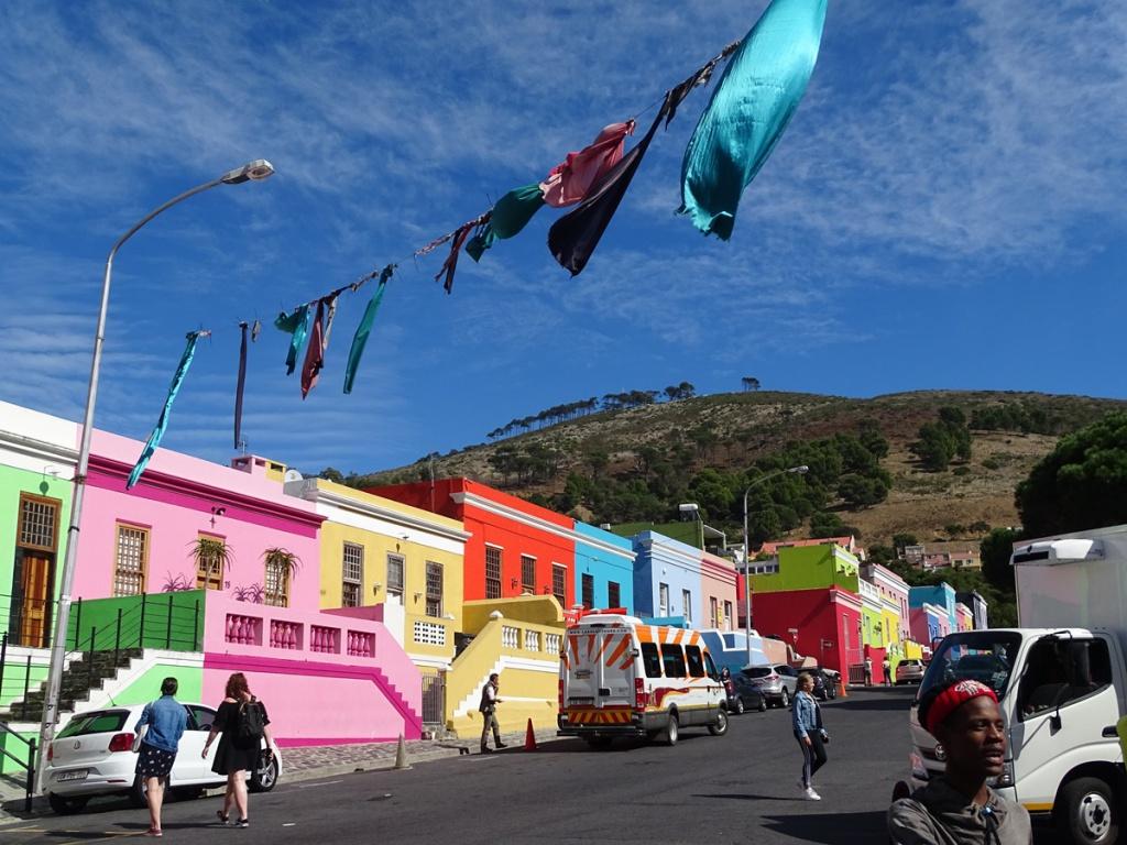 De gekleurde huisjes van de Bo Kaap (Kaapstad, Zuid Afrika)