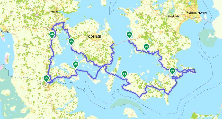 Kaart van de N8 Oostzeeroute in Denemarken (Fietsroute van het jaar 2019)